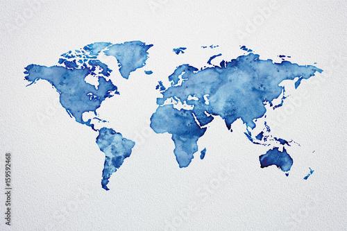 Fototapeta premium Mapa świata akwarela