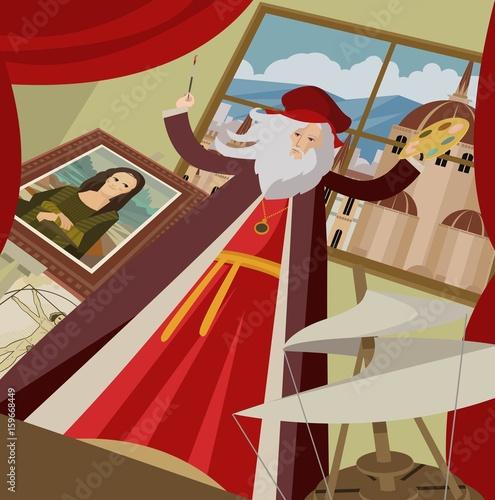 great renaissance genius artist painting a portrait Fototapeta