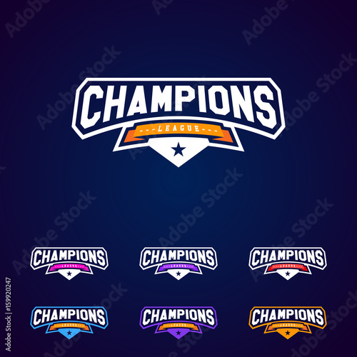 Obraz na plátne Set of the Champion sports league logo emblem badge graphic with star