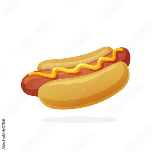 Photo Hot dog with mustard