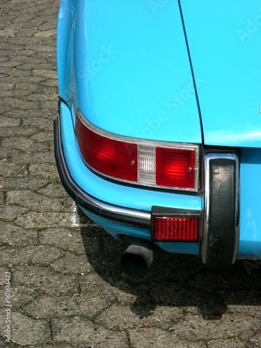 Canvas Print Heckpartie eines hellblauen deutschen Sportwagen Klassikers der Sechzigerjahre u