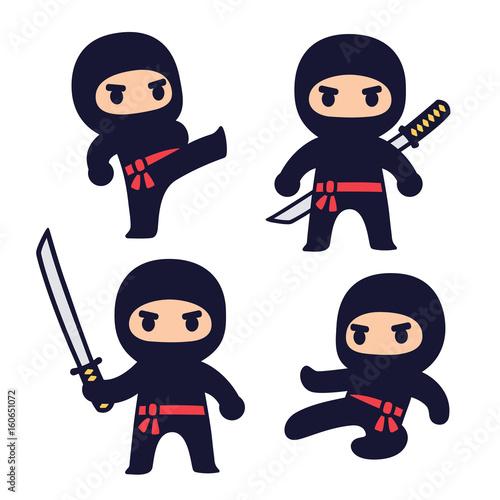 Photo Cute cartoon ninja set