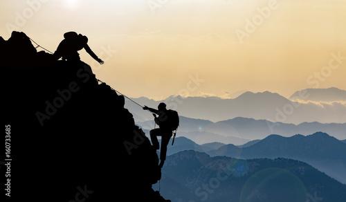 mountain range and peak climbing in the mountains