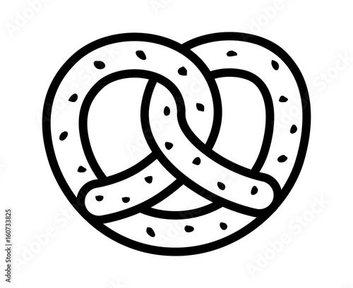 Photo Soft pretzel twisted knot bread with salt line art vector icon for apps and webs