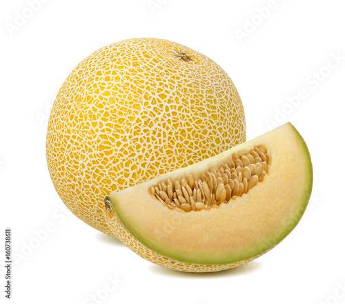 Yellow galia melon piece isolated on white background