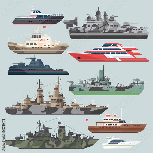 Passenger ships and battleships Fototapeta