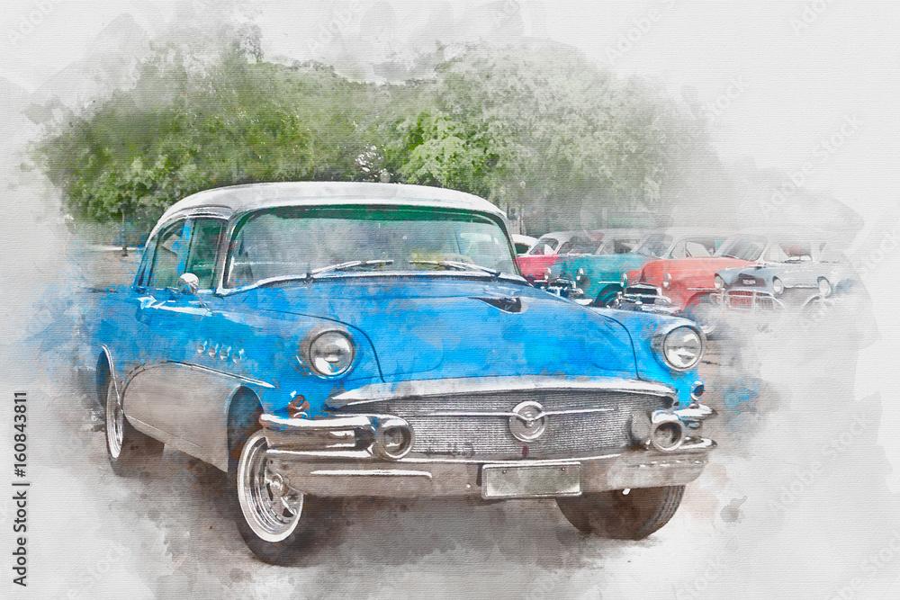 Błękitny stary samochód w Kuba, akwarela <span>plik: #160843811   autor: danek_w</span>