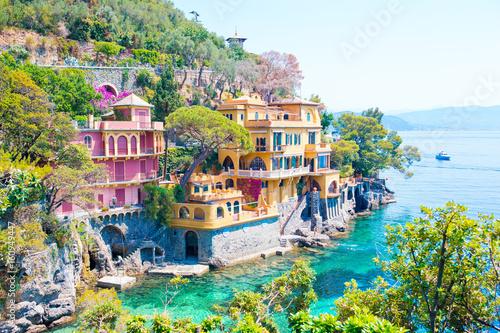 Canvas Print Beautiful sea coast with colorful houses in Portofino, Liguria, Italy