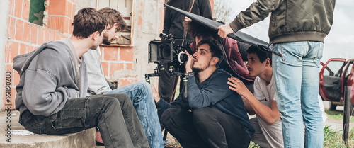 Canvas Print Behind the scene. Film crew filming movie scene outdoor