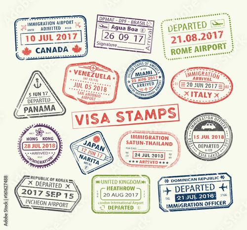 Valokuvatapetti Visa passport stamp