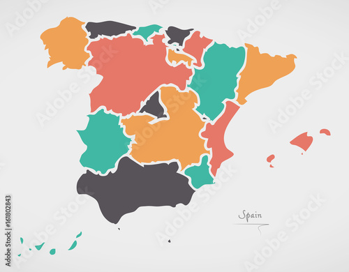 Wallpaper Mural Spain Map with states and modern round shapes