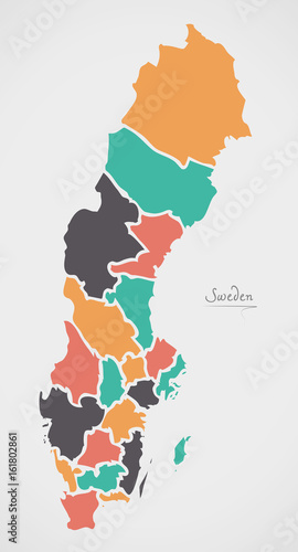 Photo Sweden Map with states and modern round shapes