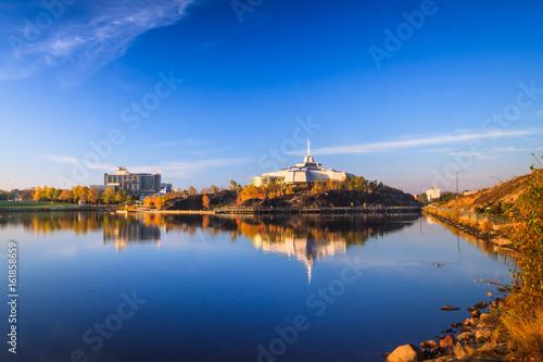 Stampa su Tela Ramsey Lake and Bell Park in Sudbury, Ontario, Canada during autumn season