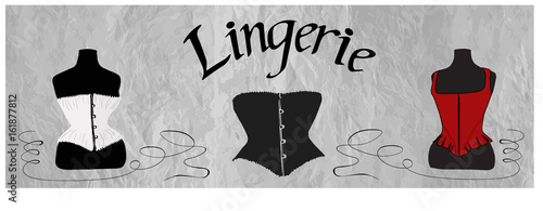Foto Women's white, black and red corsets on dress form dummy - vintage underwear - with Lingerie lettering on textured background