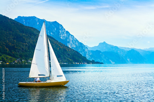 Canvas Print Sailing boat on the lake Traunsee, Austria