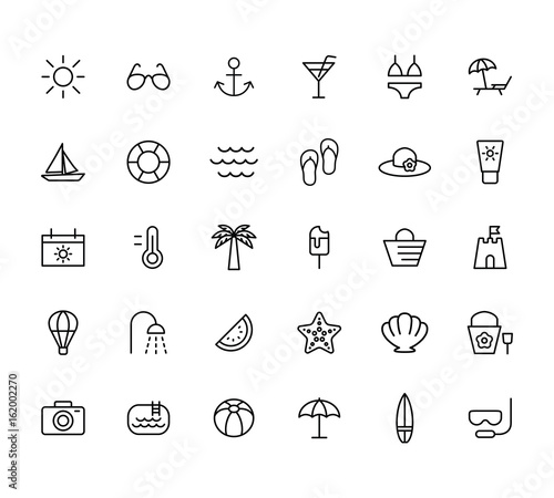 Foto summer, travel, holiday and beach icons set on white background, thin line