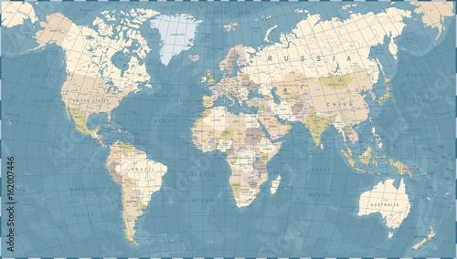 Vintage World Map - Vector Illustration
