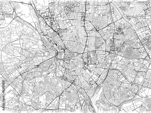 Canvas Print Cartina di Madrid, città, strade e vie, Spagna