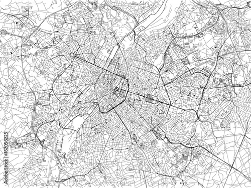 Fototapeta Cartina di Bruxelles, città, strade, Belgio