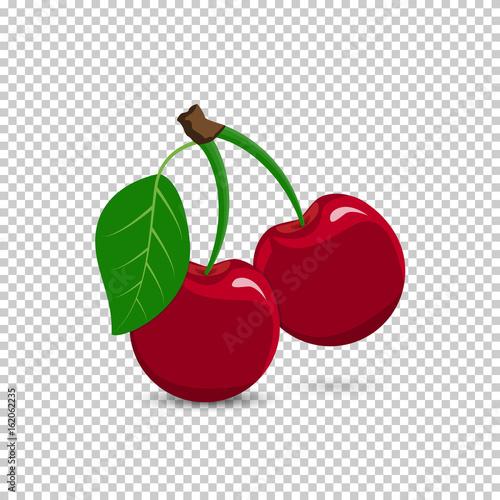 Canvastavla Red cherry on a transparent background
