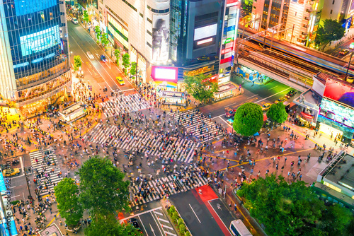 Stampa su Tela Shibuya Crossing from top view in Tokyo