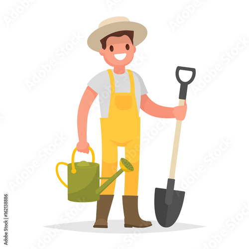 Valokuvatapetti Happy gardener man with a shovel and watering can on a white background