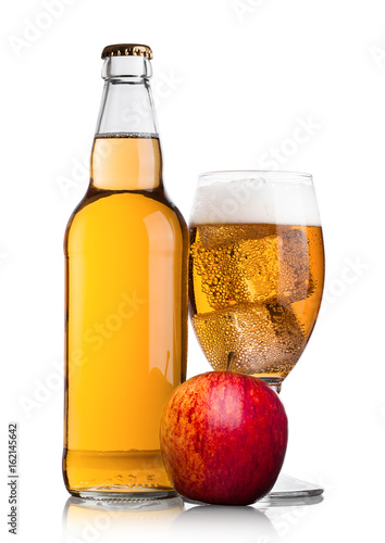 Bottle and glass of apple cider with fresh apple Fototapeta