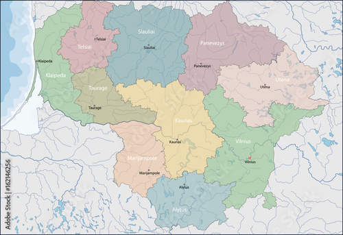 Obraz na płótnie Map of Lithuania