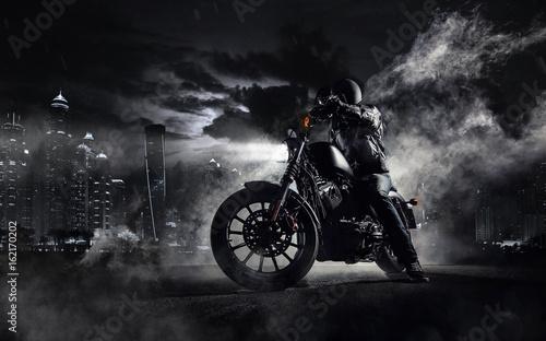 High power motorcycle chopper with man rider at night Tapéta, Fotótapéta