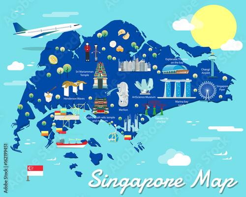 Canvas Print Singapore map with colorful landmarks illustration design