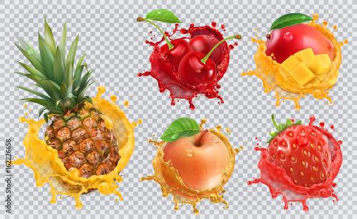 Photo Pineapple, strawberry, apple, cherry, mango juice