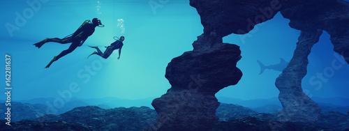 Canvas Print Teenagers  swimming
