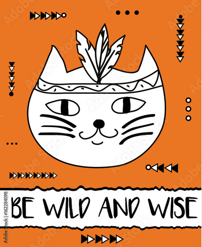 Naklejki na drzwi Bądź Dziki i Mądry