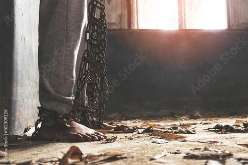 Fotografie, Tablou Man tied and imprisoned