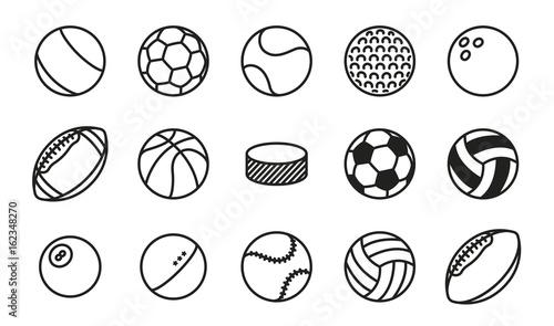 Fotografija Sports Balls Minimal Flat Line Vector Icon Set