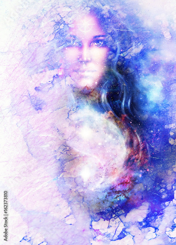 Stampa su Tela goddess woman and symbol Yin Yang in cosmic space