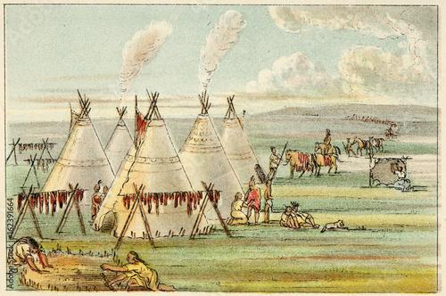 Fototapeta Drying Buffalo Meat - Catlin. Date: circa 1830