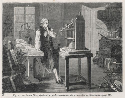Canvas Print Watt studies Newcomen's engine. Date: 1764