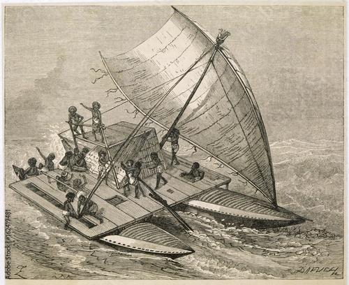 Wallpaper Mural Catamaran of Polynesia. Date: circa 1860