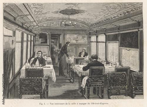 Orient Express - Dining car. Date: 1884 Fototapeta