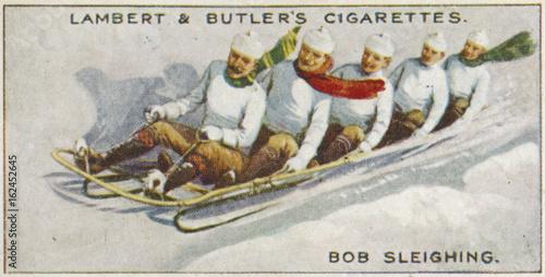 Leinwand Poster Five Man Bobsleigh 1914. Date: 1914