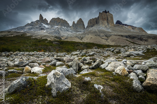 Mountains near Valle Frances in Torres del Paine National Park with dramatic sky Fototapet