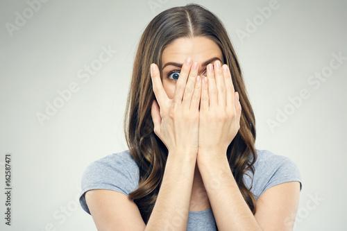 Close up face woman portrait with fear emotion. Fotobehang