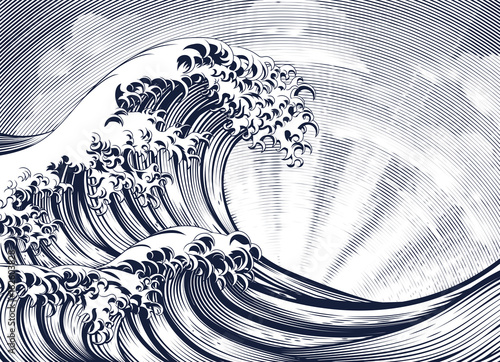 Canvas Print Japanese Oriental Wave Etching Engraved Woodcut