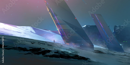 Stampa su Tela painted landscape of the future on an alien planet