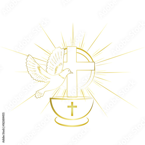 Leinwand Poster Gold, simple and classy baptism symbols. Invitation.