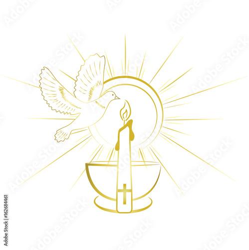 Obraz na płótnie Baptism sacrament symbols. Gold and simple invitation design.