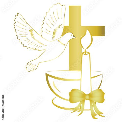 Foto Gold design for sacrament of baptism invitation, card.