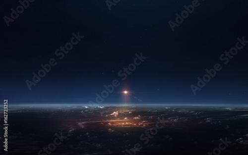 Science fiction space wallpaper, ishaceship starting from earth. Elements of this image furnished by NASA