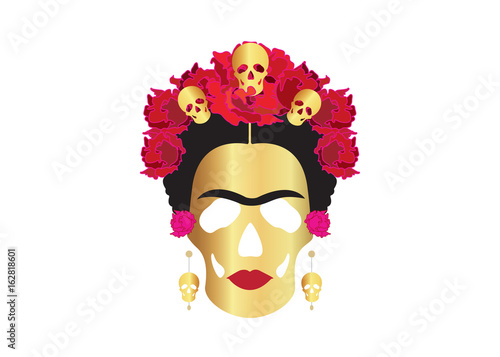 Canvas portrait of Mexican Catrina with skulls and flowers ,Frida gold skulls, inspira